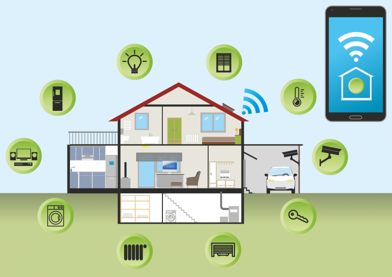 Illustration eines smarten Hauses