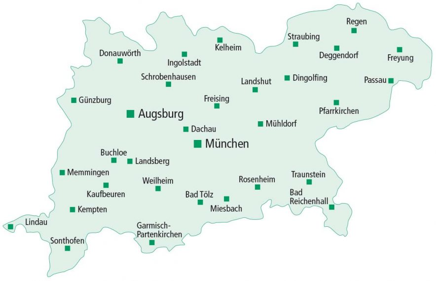 Karte zum Geschäftsgebiet der PSD Bank München