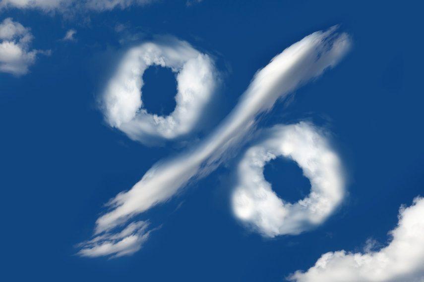 Wolke am Himmel als Prozentzeichen